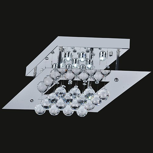 Nice LightInTheBox W LED Ceiling Light with Square Plate in Crystal Beaded Design Modern Home Ceiling Light Fixture Flush Mount Pendant Light Chandeliers