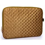 13 inch Gold Diamond Quilted Satin Polyester Spread over Neoprene Lined Slim Fit Laptop Sleeve Slipcase Bag Carrying Case Bodyguard for MacBook, Acer, Dell, Lenovo, Samsung, Sony, Toshiba Notebook Netbook