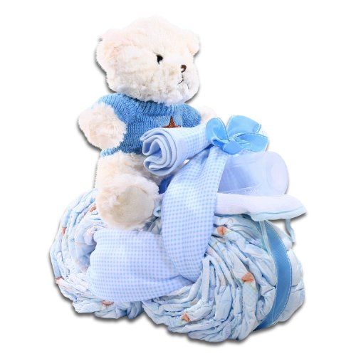 The Gifting Group Motorcycle Diaper Cake, Blue