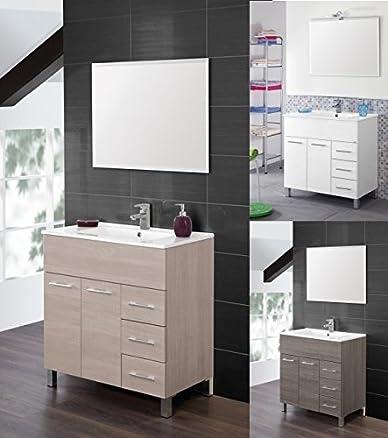 Mobile Arredo Bagno Coral da 80 cm con specchio e lavabo colori bianco rovere chiaro o scuro Mobili