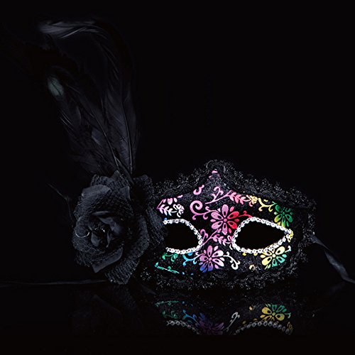 Spritech(TM) Side Rose Flowers With Feather Halloween Dance Party Princess Venice Mask Mysterious Black