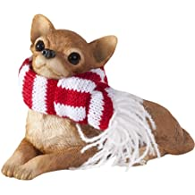 Sandicast Lying Tan Chihuahua With Red And White Scarf Christmas Ornament