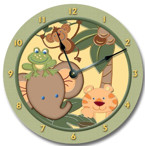 "Baby Jungle Animals Safari Wall Art Clock Nursery Large 10 1/2"" front-61601"