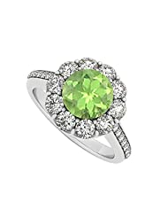 925 Sterling Silver August Birthstone Peridot And Cubic Zirconia Halo Engagement Ring