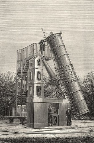 Paris: The Large Telescope Observatory In Paris; Antique Print 1877
