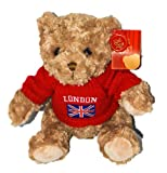 Keel Toys Cuddly Plush 25cm Teddy Bear with Red London Jumper Soft Toy
