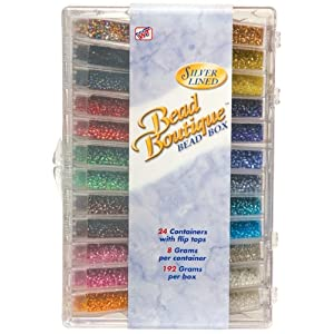 Blue Moon Bead Boutique Bead Box, Multi Color Silver Lined Seed Beads