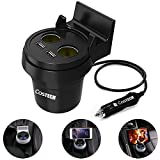 Car Charger Mount Cigarette Lighter, Costech 2 Lighter Socket Stand 3.4A Dual USB Charging Ports Outlet Splitter Cup Holder for Iphone,Samsung Galaxy,MP4,laptop,Smart phones,Cameras