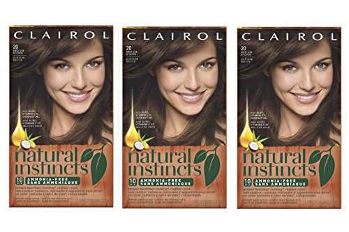 Clairol Natural Instincts 20 Hazelnut Medium Brown 1 Kit  (Pack of 3) (Clairol Color Treat Conditioner 3 compare prices)