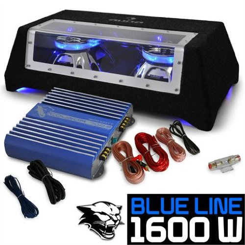 Car Audio HiFi System 'Blue Line 120' Subwoofer, Amplifier 1600W Set