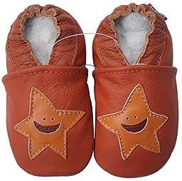Carozoo unisex baby soft sole leather infant toddler kids shoes Starfish Orange 4-5y