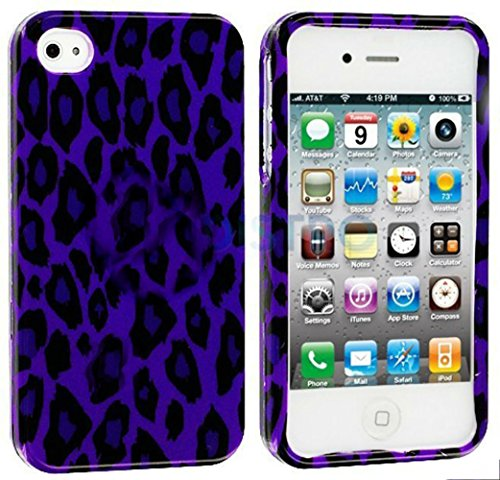 Mylife Indigo Leopard Print Series (2 Piece Snap On) Hardshell Plates Case For The Iphone 4/4S (4G) 4Th Generation Touch Phone (Clip Fitted Front And Back Solid Cover Case + Rubberized Tough Armor Skin) front-351695