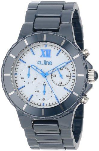 A_Line Women'S Al-20041-Nbwsr Marina Chronograph White Dial Navy Blue Ceramic Watch