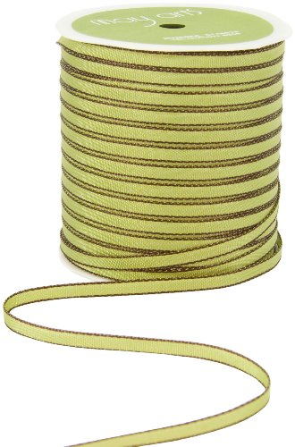 May Arts 1/8-Inch Wide Ribbon, Green with Brown Edge
