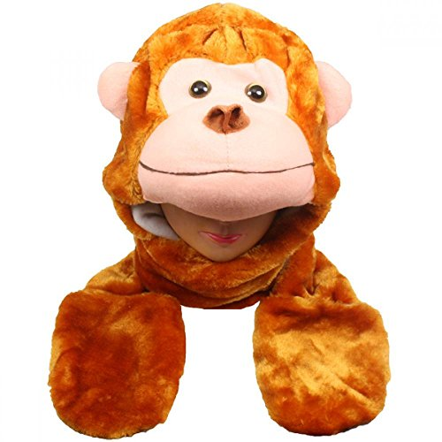 Monkey_(US Seller)Plush animal hats with mittens Cap Earmuff Long