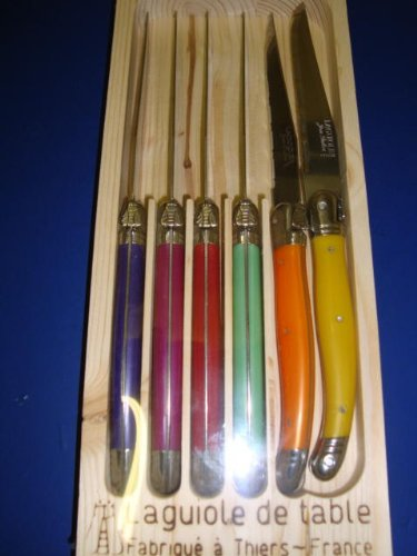 Authentic French Laguiole Dubost - 6 Steak Knives Set - Bright Multi Colored