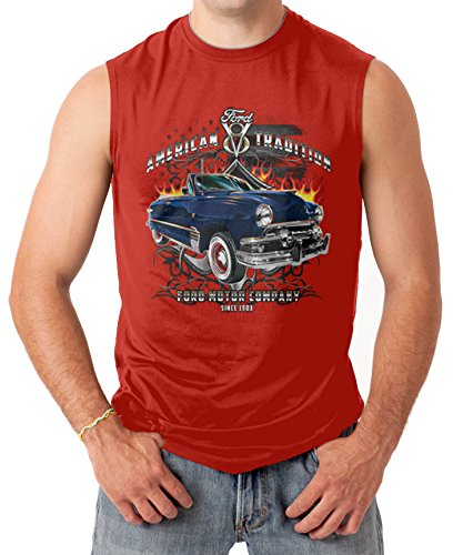Ford American Tradition - Officially License Men's SLEEVELESS T-shirt Tee (XL, RED)