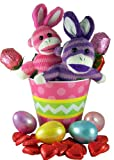 Bunny Ears Sock Monkey Pair Plush Toys in Easter Basket with Eggs and Assorted Candy
