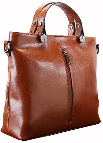 Heshe 2015 New Leather Fashion Women's Designer Tote Cross Body Shoulder Bag Handbag (Dbrown)