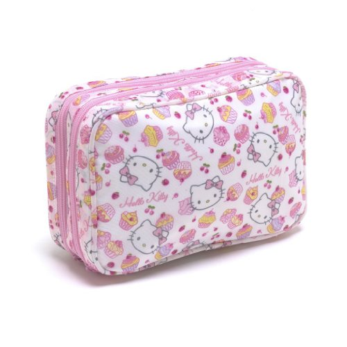 Hello Kitty Womens Girls Make Up Bag Vanity Cosmetics Case - Pink Cake