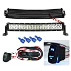 MICTUNING 22 Curved - 120W CREE LED Light Bar COMBO Spot/Flood 3W LED - 9000 Lumen 4x4 Off Road Jeep Polaris Razor ATV SUV UTV Car Truck_WITH LASER BLUE LED LIGHT BAR ROCKER SWITCH WIRING HARNESS