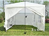 Mcc@home 3x6m White Waterproof Outdoor Garden Gazebo Party Tent Marquee Canopy 120g PE Power Coated Steel Frame