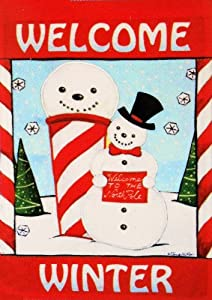 "Adorable North Pole Winter Snowman - Large Christmas Flag 28"" X 40"" for Holiday Yard House Porch School Classroom Office Outdoor Banner Decor"