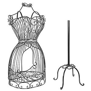 MyGift Vintage Designers Black Metal Scrollwork Wire Frame Dress Form Display Rack/Dressmaker's Mannequin Stand (Color: Black)