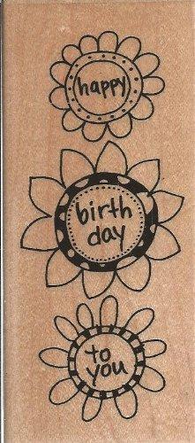 Birthday Flower Trio Wood Mounted Rubber Stamp (N216)