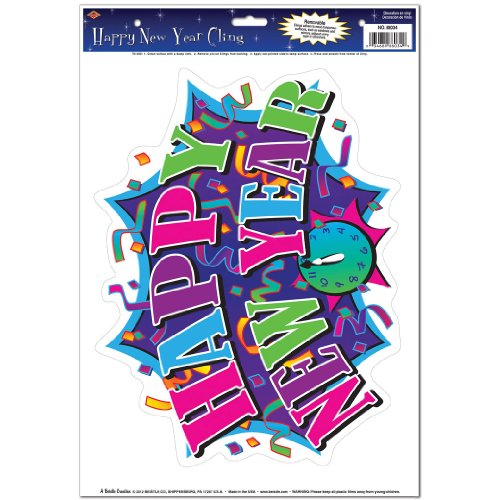 Beistle 88034 Happy New Year Cling, 12 by 17-Inch Sheet