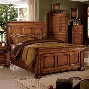 eastern king size cambridge tobacco oak finish bed frame kitchen home. Black Bedroom Furniture Sets. Home Design Ideas