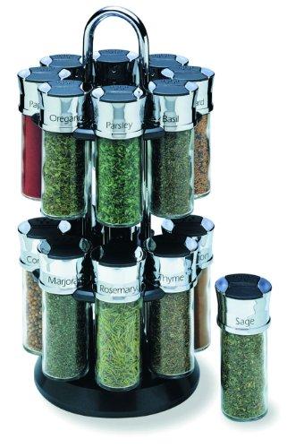 Olde Thompson 16-Jar Chrome Carousel Spice Rack