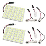 Cutequeen Trading 2PCS White 5050 48SMD 48-SMD LED Panel Dome Light Lamp + T10 BA9S Festoon Adapter (pack of 2)