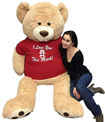 Big-Plush-Giant-6-Ft-Teddy-Bear-Soft-Tshirt-Says-I-Love-You-This-Much-Weighs-20-Pounds