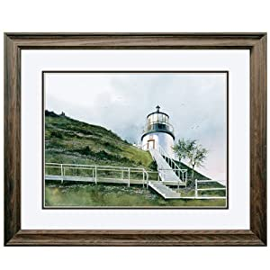 Reflective Art, The Owls Head Lighthouse, Dark Walnut Framed, 18.5 by 22.5-inch