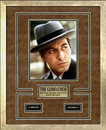 The Godfather Memorabilia. Al Pacino as Don Michael Corleone. Photo, Plate, Bullets. Custom Made Modern Scratched Gold Wood Frame (17.25 x 21.25)