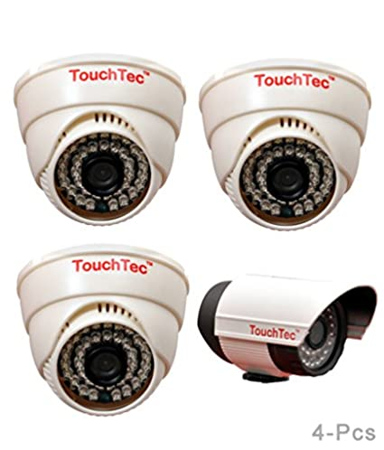 TouchTec 800 TVL with 3.6mm Lens Dome IR + Bullet Camera (4Pcs)