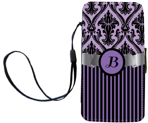 """Rikki Knighttm Letter """"B"""" Initial Purple Damask And Stripes Monogrammed Pu Leather Wallet Type Flip Case With Magnetic Flap And Wristlet For Apple Iphone 4 & 4S front-566929"""