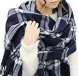(ジーンズショップ マルカワ) Jeans shop MARUKAWA マフラー 大判 メンズ チェック ストール ユニセックス 男女兼用 冬 8color Free 柄1