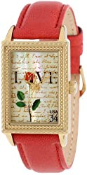 """The P.S. Collection by Arjang and Co. Women's PS-3006G-RD """"Love Letters"""" Gold Colored Stainless Steel Mother Of Pearl Dial Red Leather Strap Watch"""