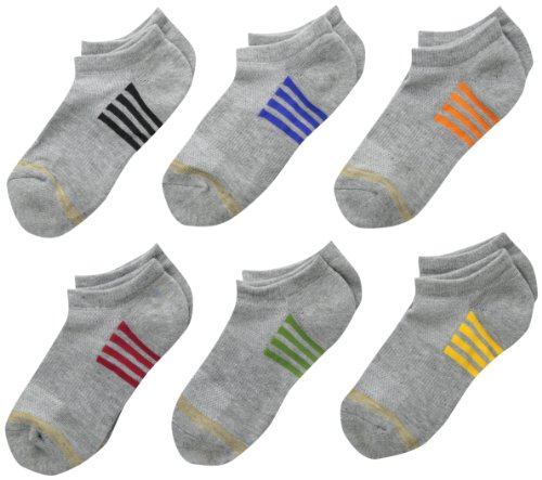 Gold Toe Big Boys' 6 Pack Sporty Liner Sock, Grey Heather with Stripes, Medium