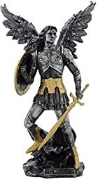 12.75 Inch Archangel Saint Michael Figurine, Pewter and Gold Color by US