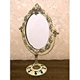 メイク 鏡 とても上品な 人気の 可愛い アンティーク調 スタンドミラー アイボリー