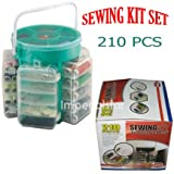 210 PCS DELUXE SEWING KIT SET WITH STORAGE CADDY BOX