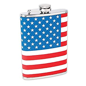 Maxam 8Oz Ss Hip Flask Usa Flag Wrap