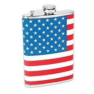Maxam 8Oz Ss Hip Flask Usa Flag Wrap