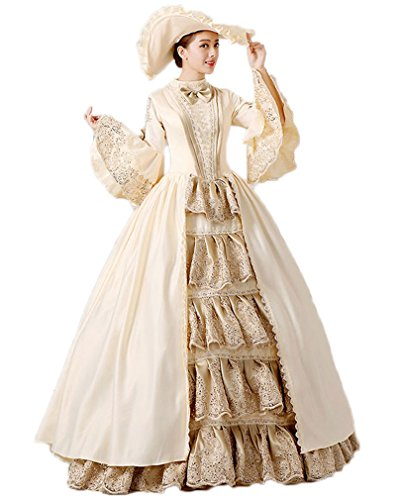 Zukzi Women's Gothic Victorian Lolita Masquerade Dresses Ball Gowns, US 12, H122 (Colonial Gown Costume)