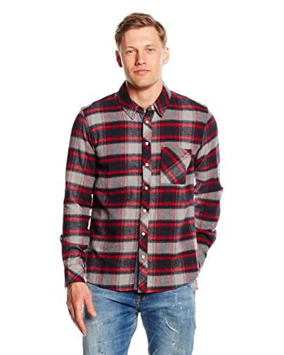 LTB Jeans Camisa Hombre Gifafe Rojo / Gris