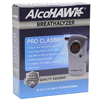 The AlcoHAWK PRO professional-grade alcohol screener utilizes a state-of-the-art semiconductor oxide sensor to quickly screen for the presence of alcohol on the breath. The simple one-button operation provides a digital reading in seconds....
