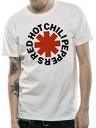 MUSIC Red Hot Chili Peppers-Asterix, T-Shirt Uomo, Bianco, X-Large
